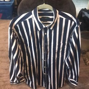 J Crew navy and white striped shirt with pocket